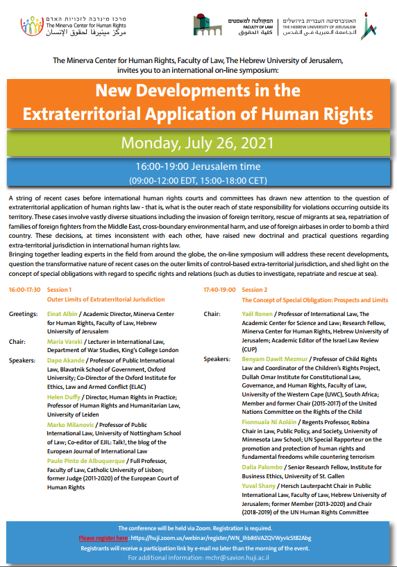 New Developments on the Extraterritorial Application of Human Rights Flyer